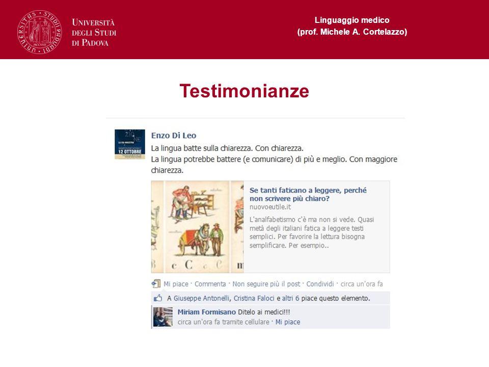 Linguaggio medico (prof. Michele A. Cortelazzo) Testimonianze