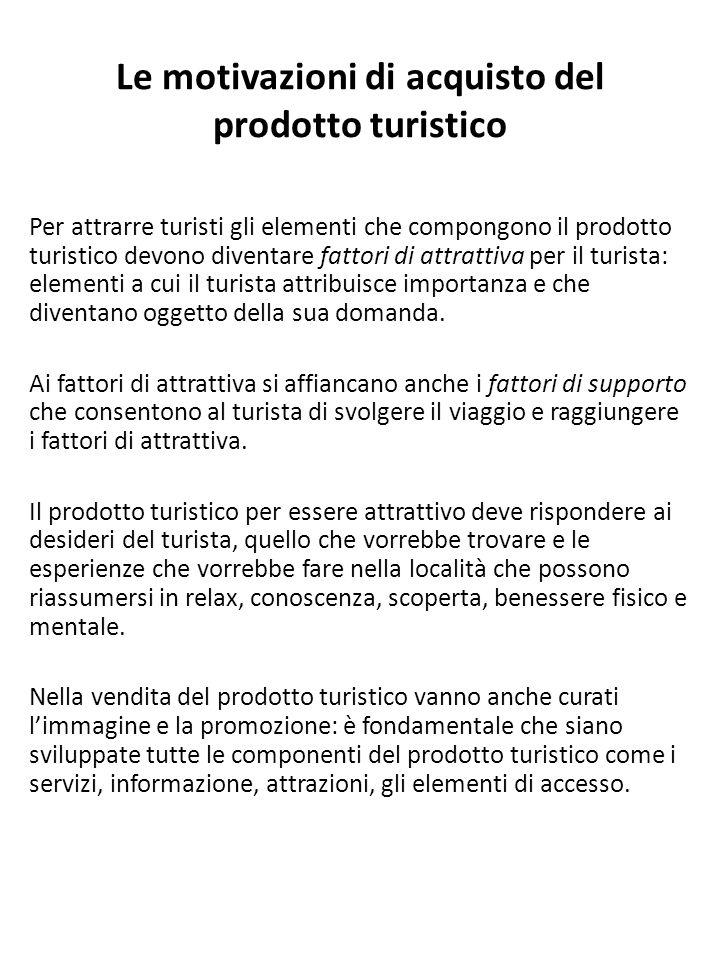 Le motivazioni di acquisto del prodotto turistico Per attrarre turisti gli elementi che compongono il prodotto turistico devono diventare fattori di a