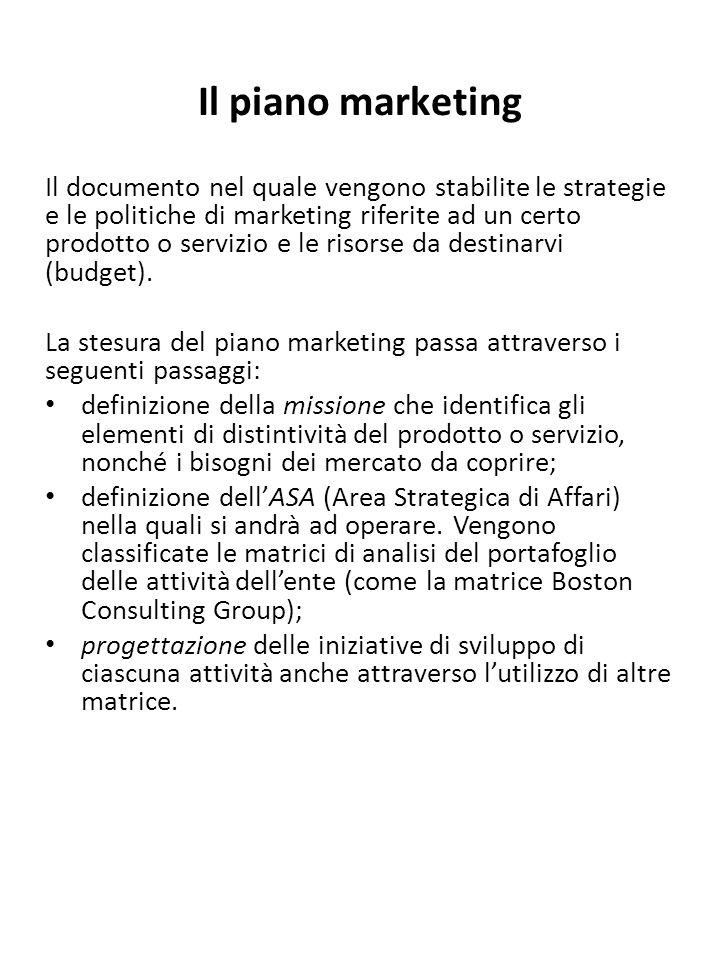 Il piano marketing Il documento nel quale vengono stabilite le strategie e le politiche di marketing riferite ad un certo prodotto o servizio e le ris