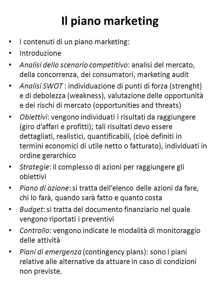 Il piano marketing I contenuti di un piano marketing: Introduzione Analisi dello scenario competitivo: analisi del mercato, della concorrenza, dei con