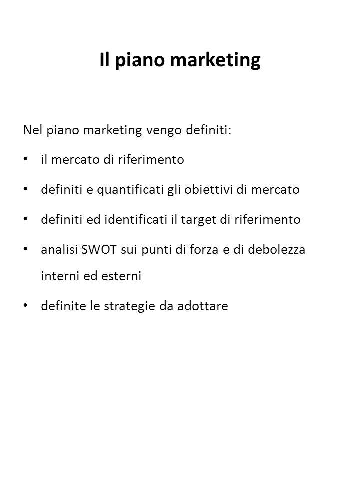 Il piano marketing Nel piano marketing vengo definiti: il mercato di riferimento definiti e quantificati gli obiettivi di mercato definiti ed identifi