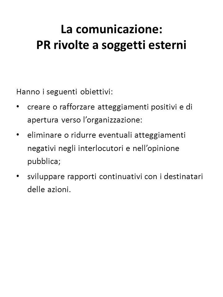 La comunicazione: PR rivolte a soggetti esterni Hanno i seguenti obiettivi: creare o rafforzare atteggiamenti positivi e di apertura verso l'organizza