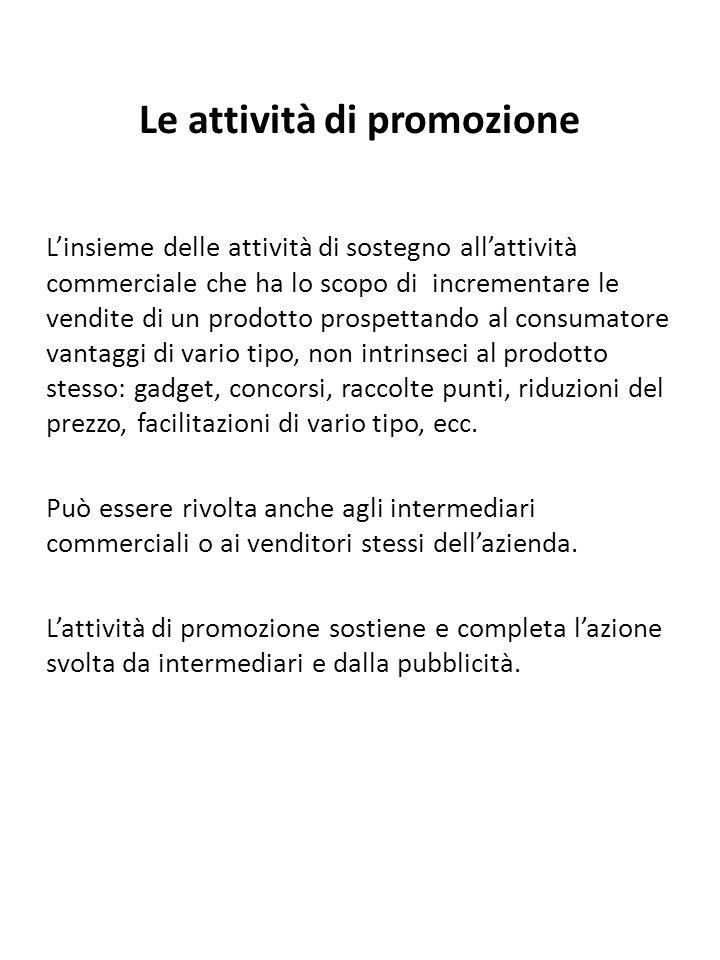Le attività di promozione L'insieme delle attività di sostegno all'attività commerciale che ha lo scopo di incrementare le vendite di un prodotto pros