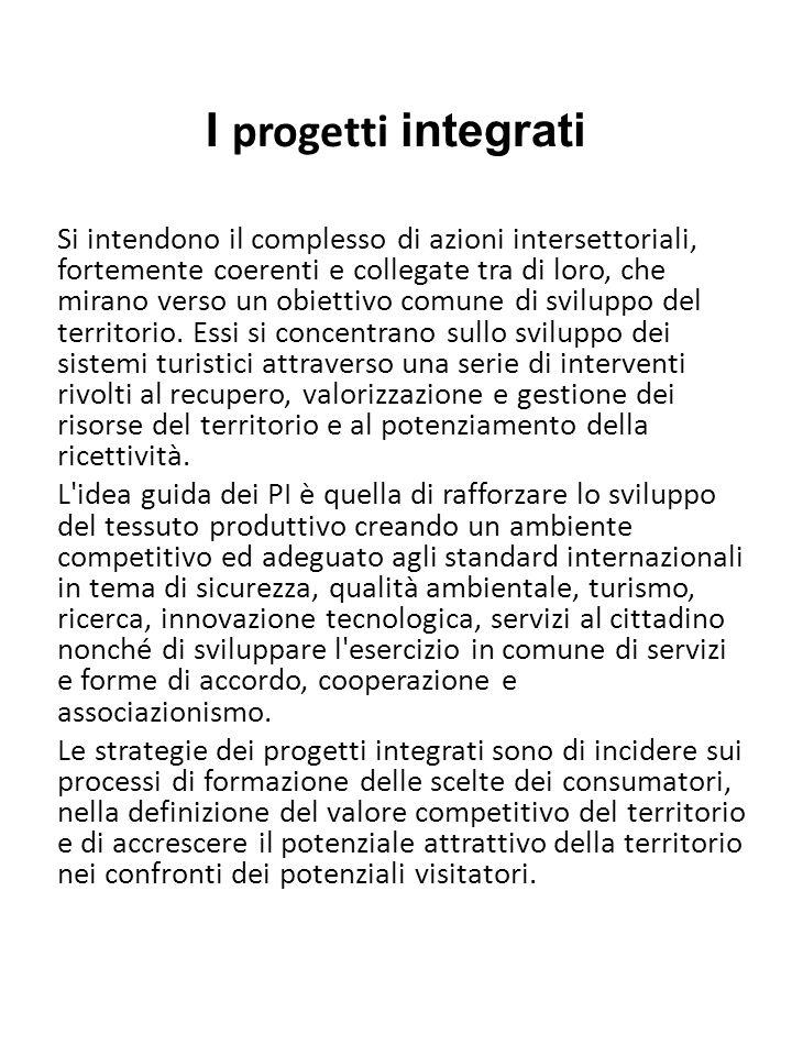 I progetti integrati Si intendono il complesso di azioni intersettoriali, fortemente coerenti e collegate tra di loro, che mirano verso un obiettivo c