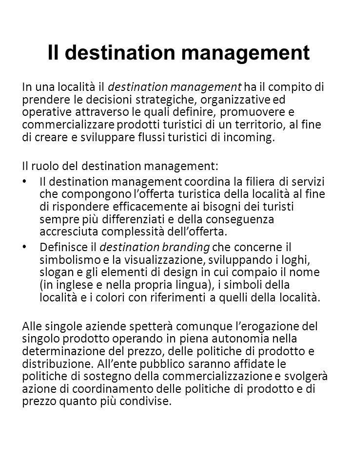 Il destination management In una località il destination management ha il compito di prendere le decisioni strategiche, organizzative ed operative att