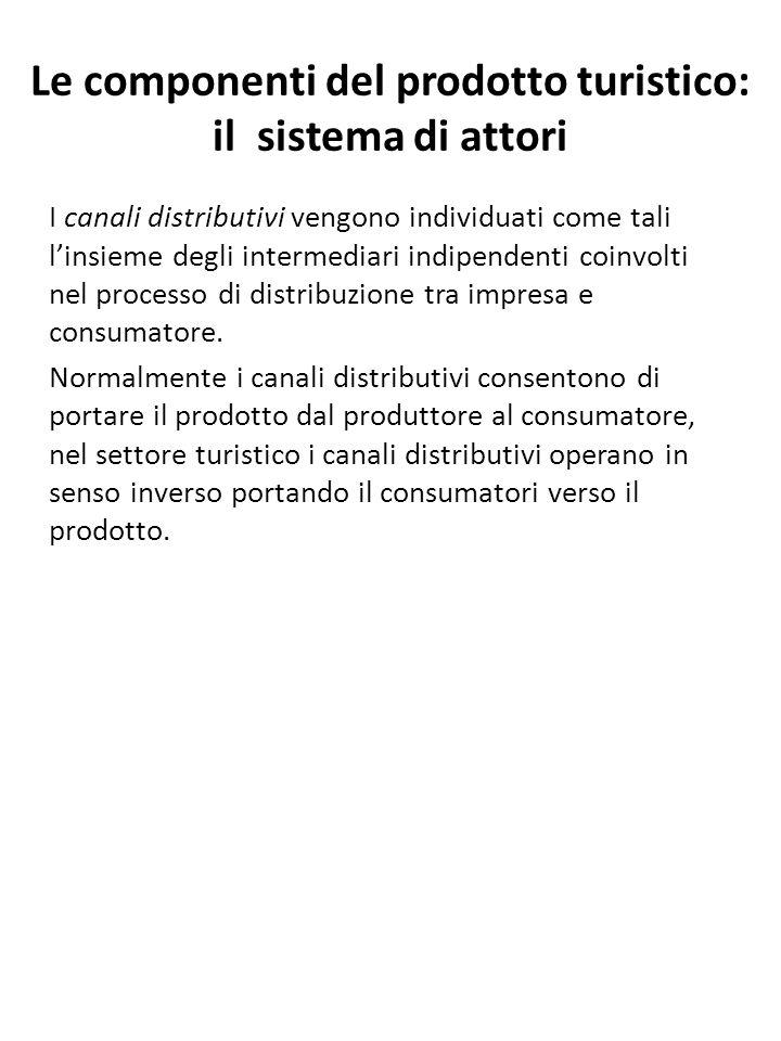 Le componenti del prodotto turistico: il sistema di attori I canali distributivi vengono individuati come tali l'insieme degli intermediari indipenden