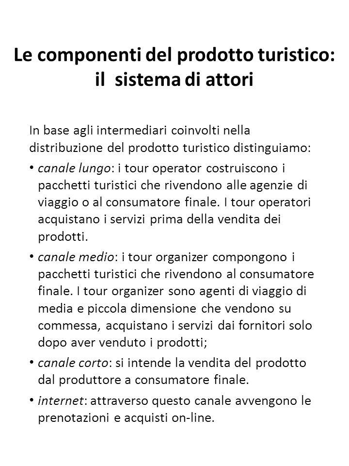 Le componenti del prodotto turistico: il sistema di attori In base agli intermediari coinvolti nella distribuzione del prodotto turistico distinguiamo