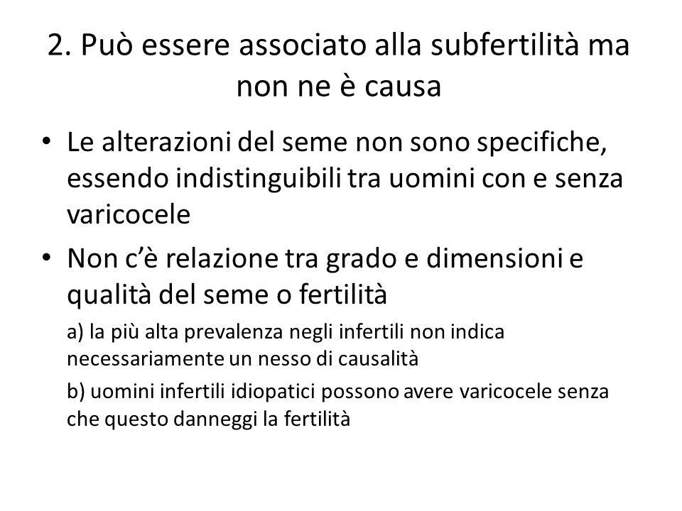 2. Può essere associato alla subfertilità ma non ne è causa Le alterazioni del seme non sono specifiche, essendo indistinguibili tra uomini con e senz