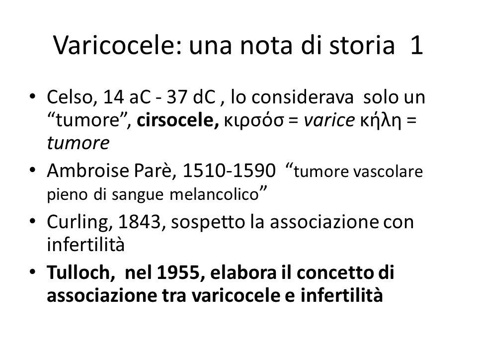 """Varicocele: una nota di storia 1 Celso, 14 aC - 37 dC, lo considerava solo un """"tumore"""", cirsocele, κιρσόσ = varice κήλη = tumore Ambroise Parè, 1510-1"""