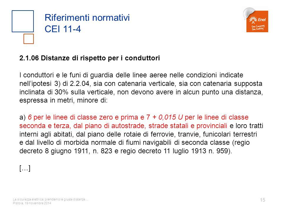 La sicurezza elettrica: prendiamo le giuste distanze… Pistoia, 19 novembre 2014 15 Riferimenti normativi CEI 11-4 2.1.06 Distanze di rispetto per i co