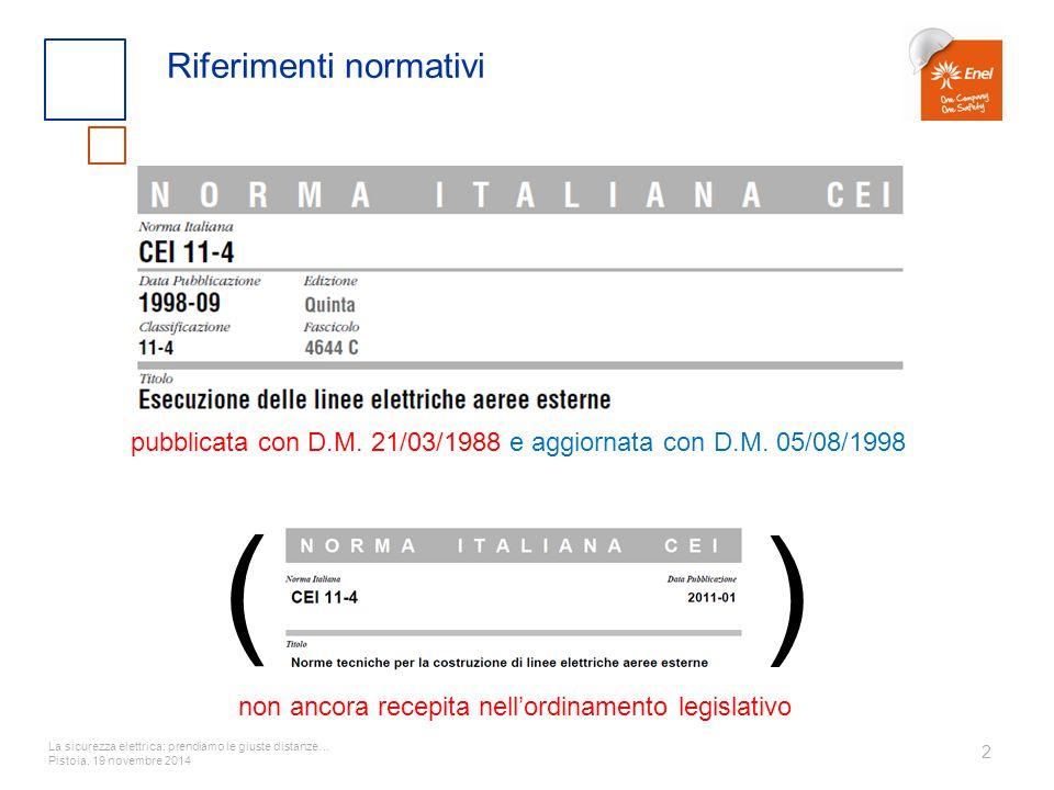 La sicurezza elettrica: prendiamo le giuste distanze… Pistoia, 19 novembre 2014 2 Riferimenti normativi ( ) non ancora recepita nell'ordinamento legis