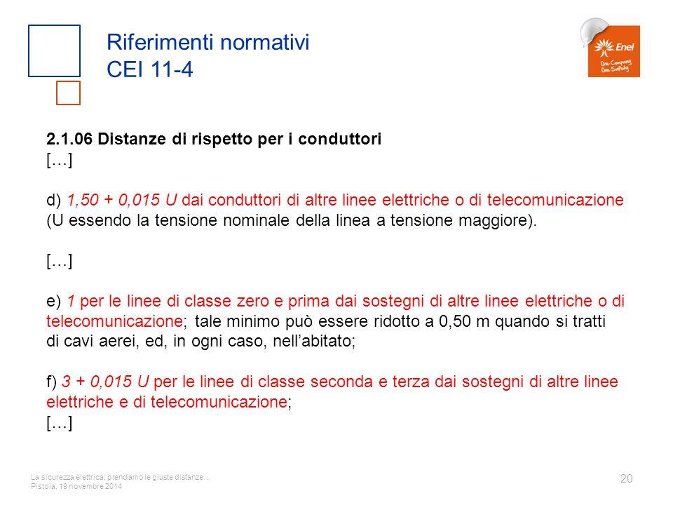 La sicurezza elettrica: prendiamo le giuste distanze… Pistoia, 19 novembre 2014 20 Riferimenti normativi CEI 11-4 2.1.06 Distanze di rispetto per i co
