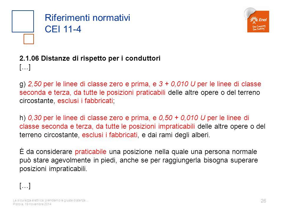 La sicurezza elettrica: prendiamo le giuste distanze… Pistoia, 19 novembre 2014 26 Riferimenti normativi CEI 11-4 2.1.06 Distanze di rispetto per i co