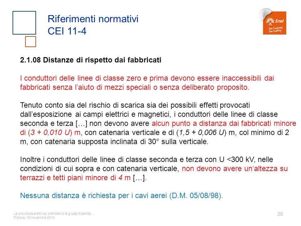 La sicurezza elettrica: prendiamo le giuste distanze… Pistoia, 19 novembre 2014 28 Riferimenti normativi CEI 11-4 2.1.08 Distanze di rispetto dai fabb