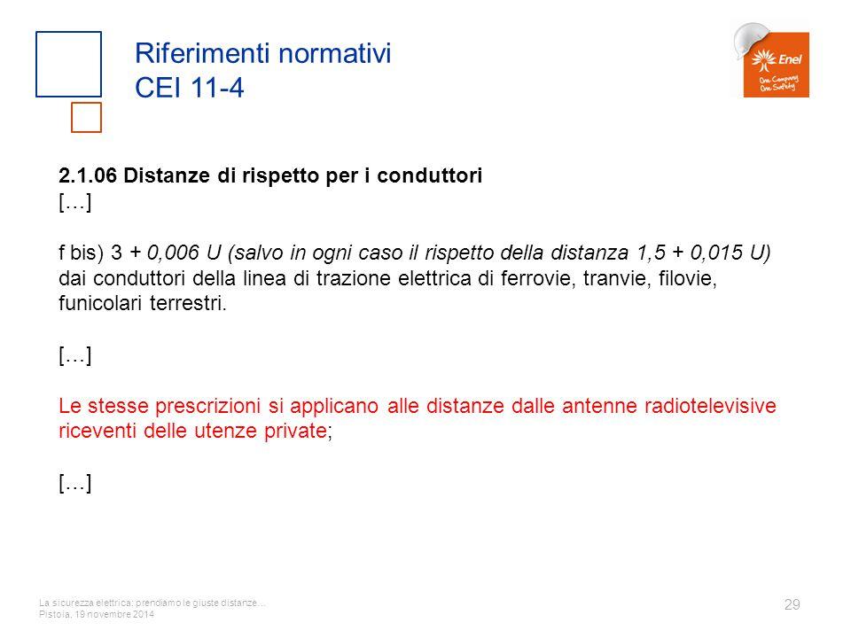 La sicurezza elettrica: prendiamo le giuste distanze… Pistoia, 19 novembre 2014 29 Riferimenti normativi CEI 11-4 2.1.06 Distanze di rispetto per i co