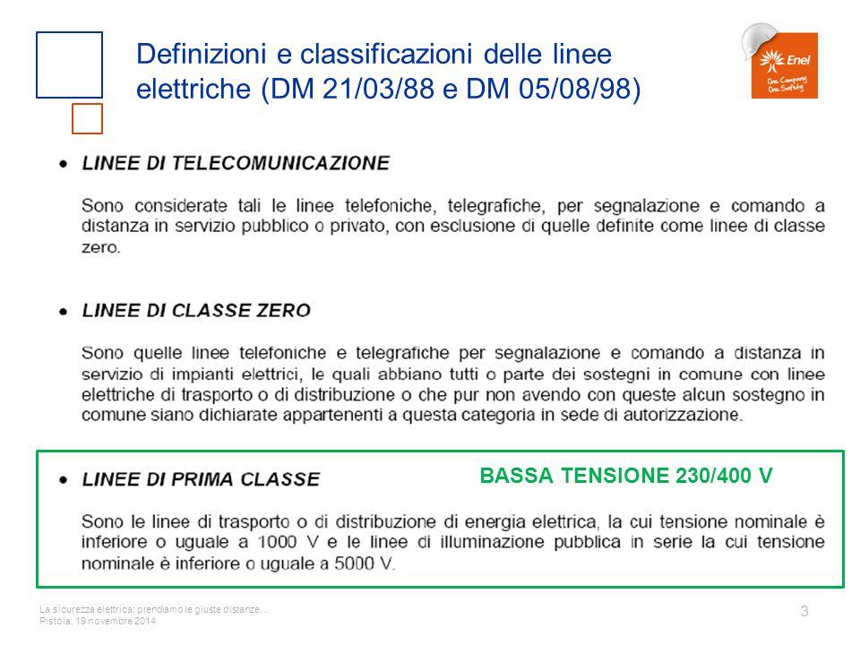 La sicurezza elettrica: prendiamo le giuste distanze… Pistoia, 19 novembre 2014 3 Definizioni e classificazioni delle linee elettriche (DM 21/03/88 e