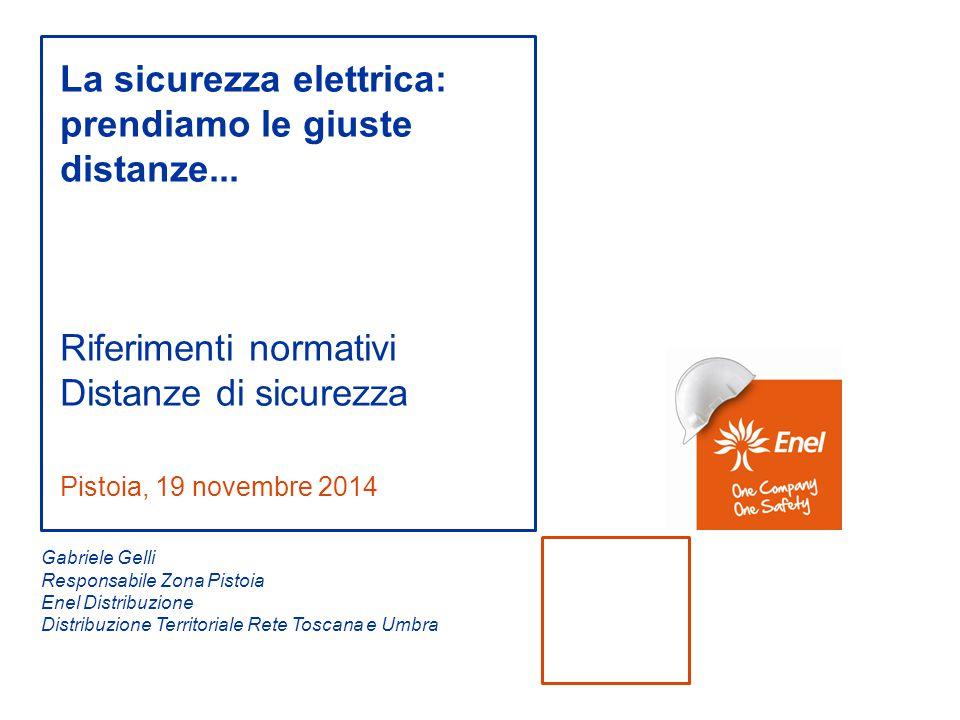 Pistoia, 19 novembre 2014 La sicurezza elettrica: prendiamo le giuste distanze... Riferimenti normativi Distanze di sicurezza Gabriele Gelli Responsab