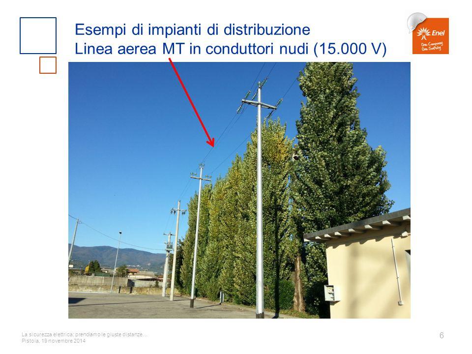La sicurezza elettrica: prendiamo le giuste distanze… Pistoia, 19 novembre 2014 6 Esempi di impianti di distribuzione Linea aerea MT in conduttori nud