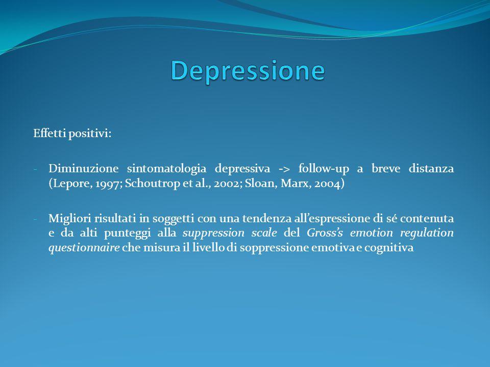 Effetti positivi: - Diminuzione sintomatologia depressiva -> follow-up a breve distanza (Lepore, 1997; Schoutrop et al., 2002; Sloan, Marx, 2004) - Mi
