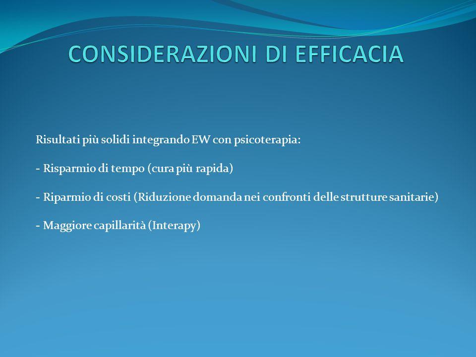 Risultati più solidi integrando EW con psicoterapia: - Risparmio di tempo (cura più rapida) - Riparmio di costi (Riduzione domanda nei confronti delle