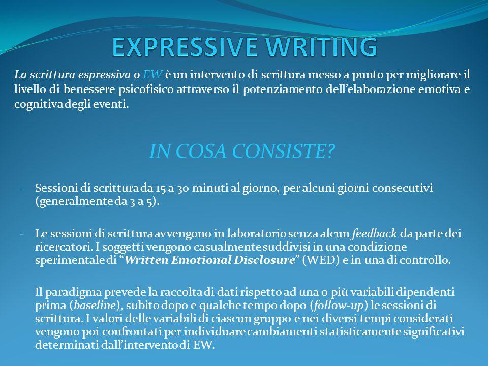 IN COSA CONSISTE? - Sessioni di scrittura da 15 a 30 minuti al giorno, per alcuni giorni consecutivi (generalmente da 3 a 5). - Le sessioni di scrittu