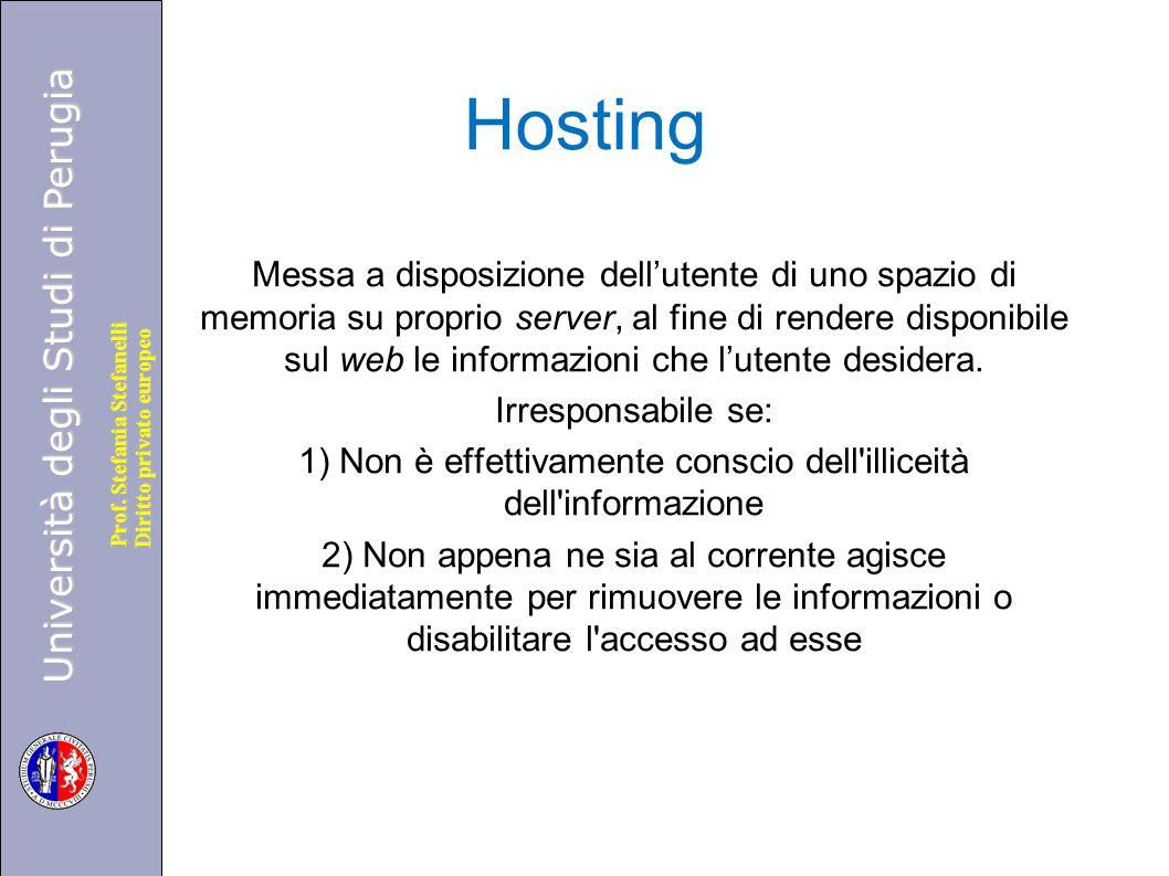 Università degli Studi di Perugia Diritto privato europeo Prof. Stefania Stefanelli Hosting Messa a disposizione dell'utente di uno spazio di memoria
