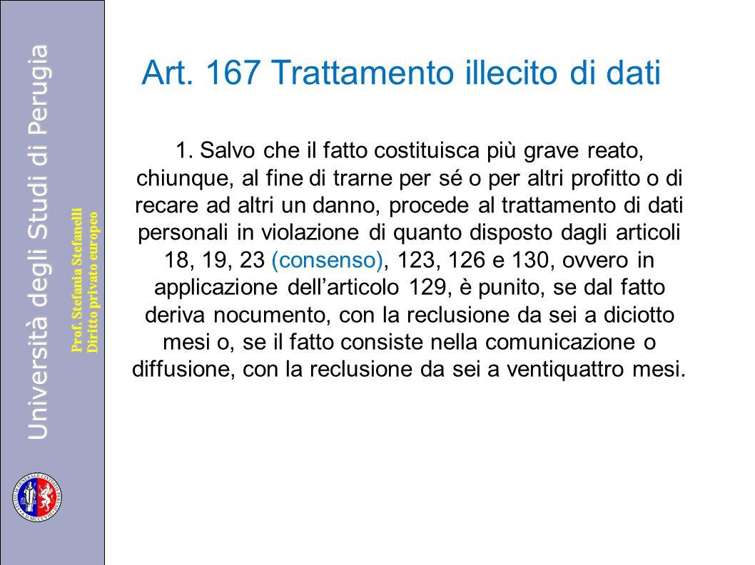 Università degli Studi di Perugia Diritto privato europeo Prof. Stefania Stefanelli Art. 167 Trattamento illecito di dati 1. Salvo che il fatto costit