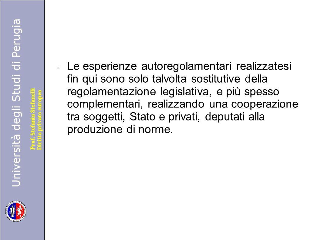 Università degli Studi di Perugia Diritto privato europeo Prof. Stefania Stefanelli ● Le esperienze autoregolamentari realizzatesi fin qui sono solo t
