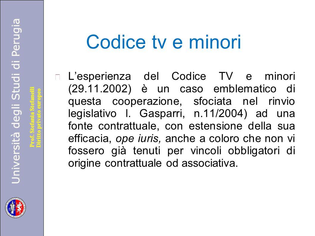 Università degli Studi di Perugia Diritto privato europeo Prof. Stefania Stefanelli Codice tv e minori L'esperienza del Codice TV e minori (29.11.2002