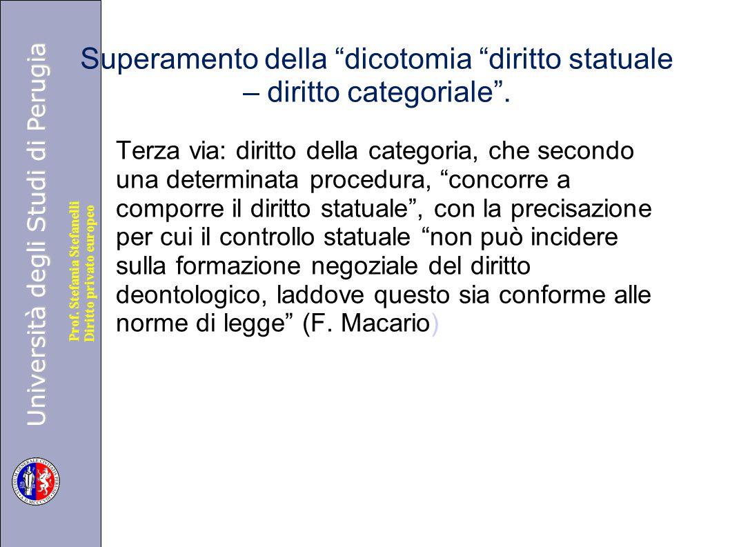 """Università degli Studi di Perugia Diritto privato europeo Prof. Stefania Stefanelli Superamento della """"dicotomia """"diritto statuale – diritto categoria"""