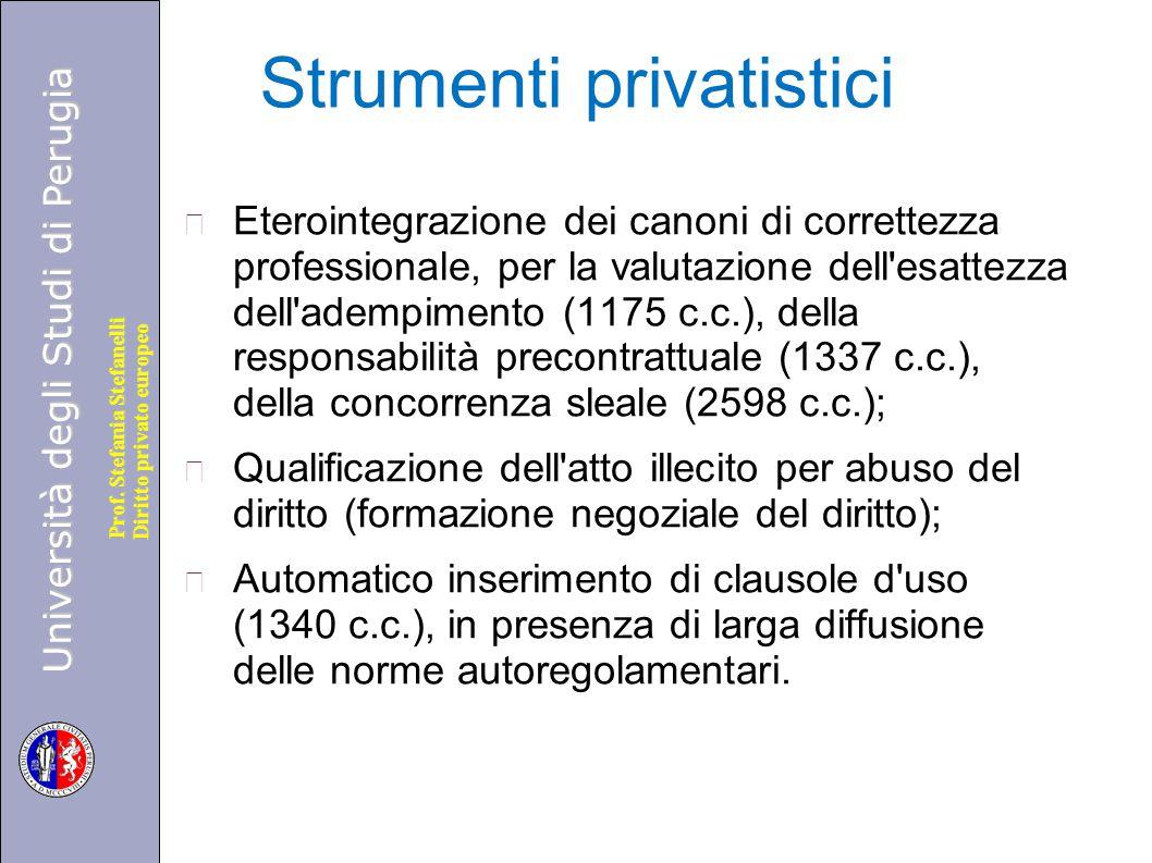 Università degli Studi di Perugia Diritto privato europeo Prof. Stefania Stefanelli Strumenti privatistici Eterointegrazione dei canoni di correttezza