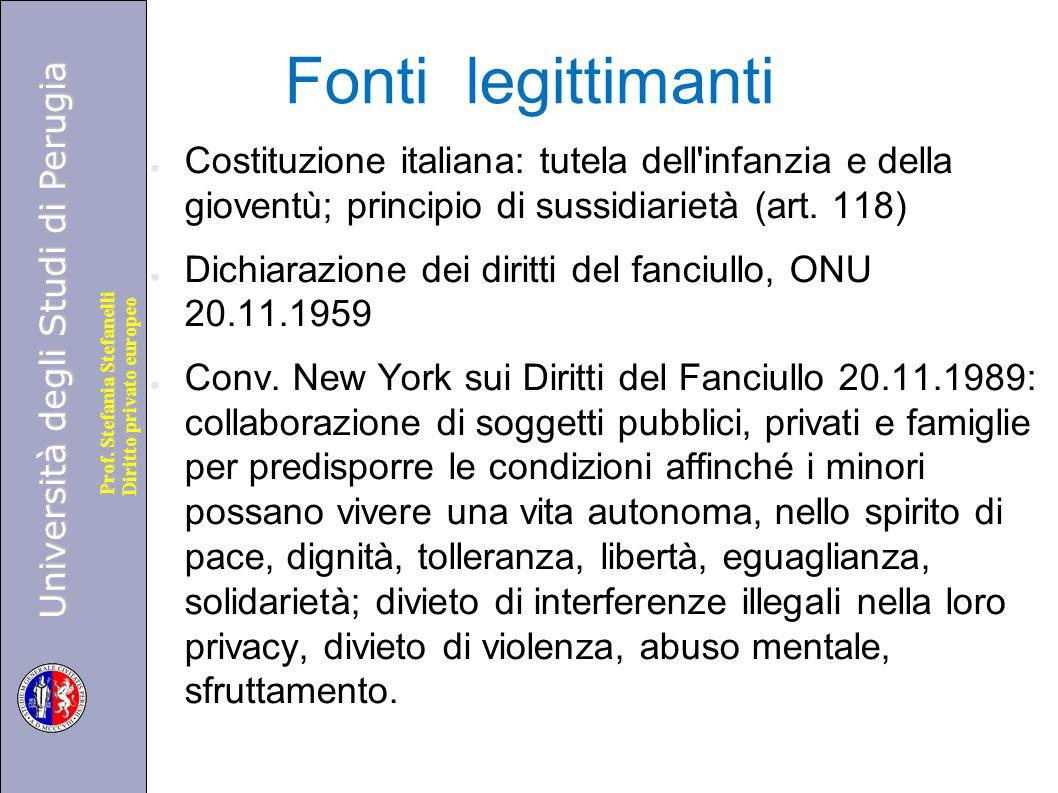 Università degli Studi di Perugia Diritto privato europeo Prof. Stefania Stefanelli Fonti legittimanti ● Costituzione italiana: tutela dell'infanzia e