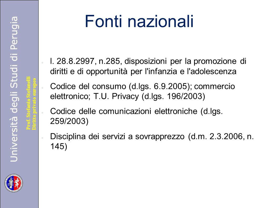 Università degli Studi di Perugia Diritto privato europeo Prof. Stefania Stefanelli Fonti nazionali ● l. 28.8.2997, n.285, disposizioni per la promozi