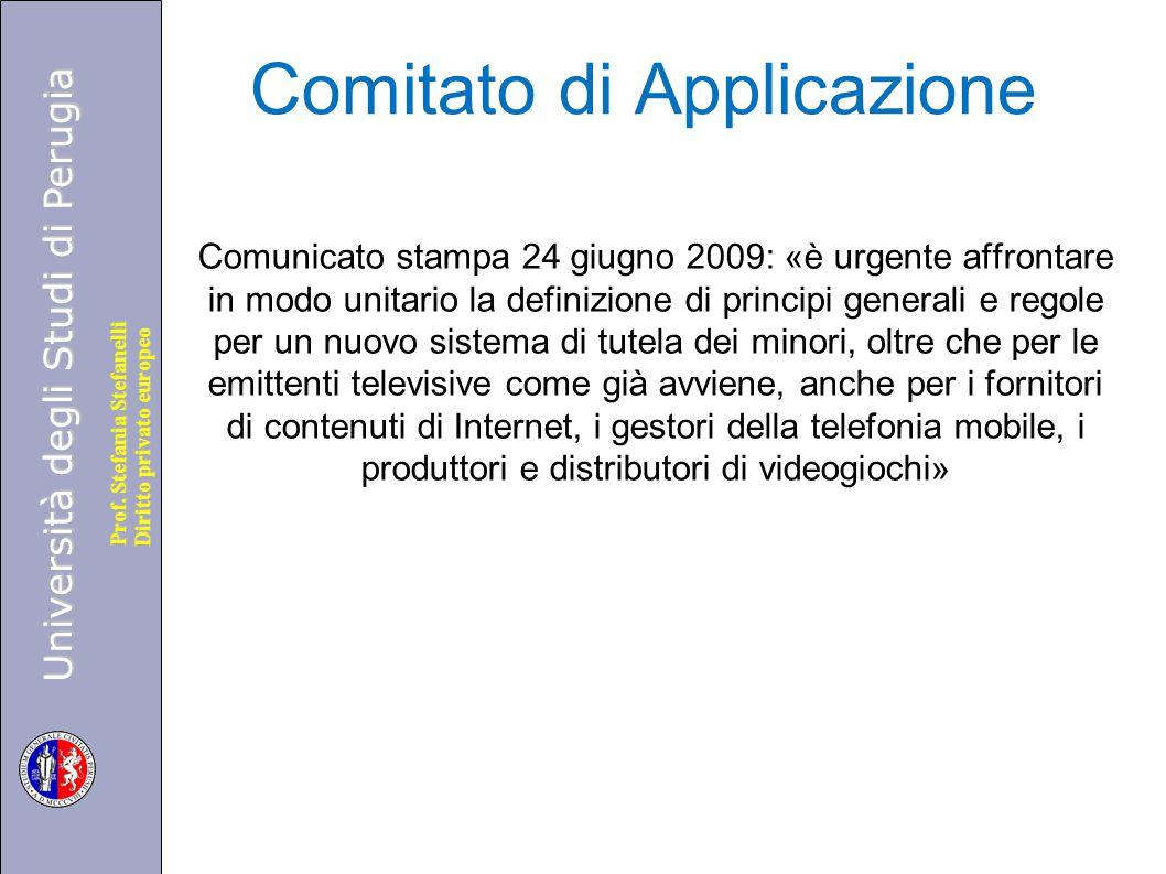Università degli Studi di Perugia Diritto privato europeo Prof. Stefania Stefanelli Comitato di Applicazione Comunicato stampa 24 giugno 2009: «è urge