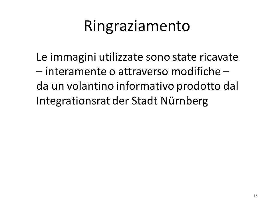 Ringraziamento Le immagini utilizzate sono state ricavate – interamente o attraverso modifiche – da un volantino informativo prodotto dal Integrationsrat der Stadt Nürnberg 15