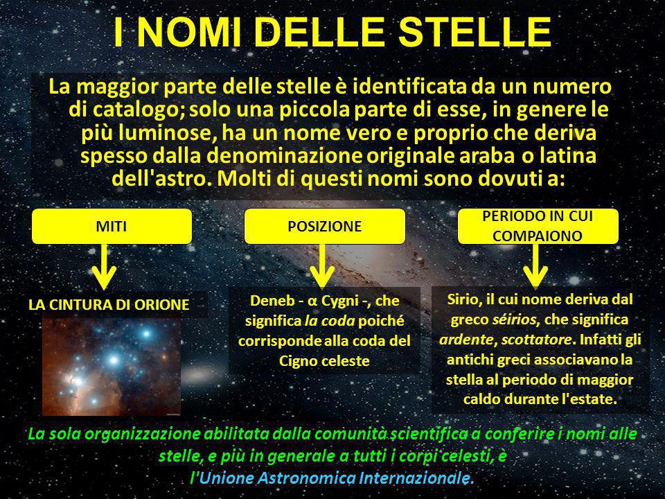 La maggior parte delle stelle è identificata da un numero di catalogo; solo una piccola parte di esse, in genere le più luminose, ha un nome vero e pr