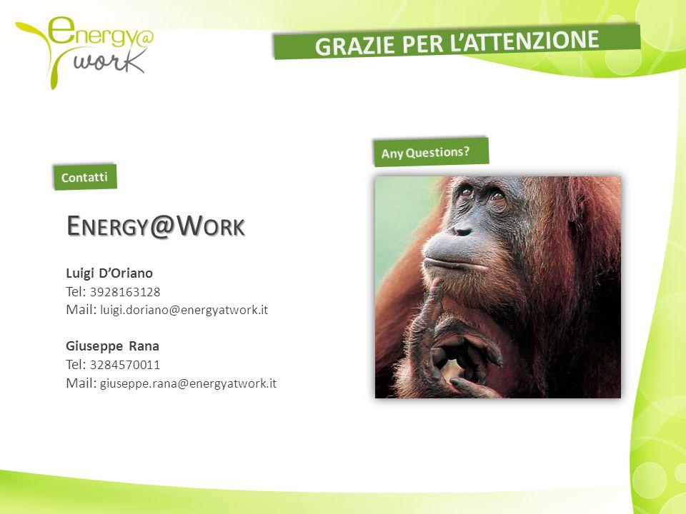 E NERGY @W ORK Luigi D'Oriano Tel: 3928163128 Mail: luigi.doriano@energyatwork.it Giuseppe Rana Tel: 3284570011 Mail: giuseppe.rana@energyatwork.it