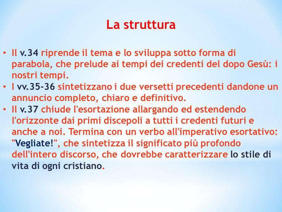 La struttura Il v.34 riprende il tema e lo sviluppa sotto forma di parabola, che prelude ai tempi dei credenti del dopo Gesù: i nostri tempi. I vv.35-