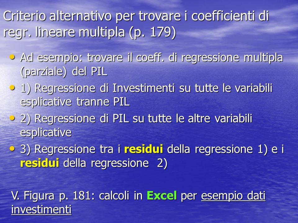 Criterio alternativo per trovare i coefficienti di regr. lineare multipla (p. 179) Ad esempio: trovare il coeff. di regressione multipla (parziale) de