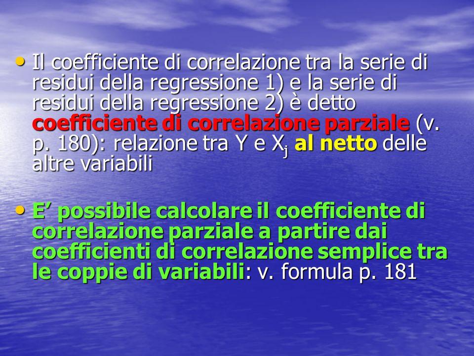 Il coefficiente di correlazione tra la serie di residui della regressione 1) e la serie di residui della regressione 2) è detto coefficiente di correl
