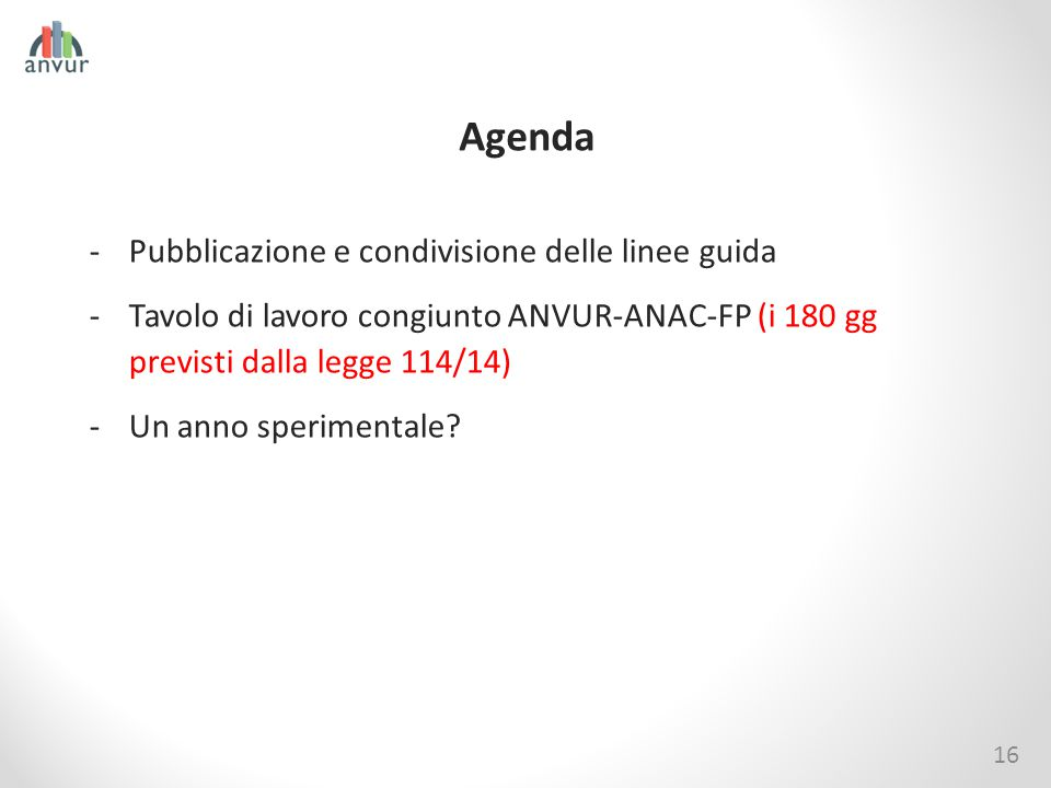 Agenda 16 -Pubblicazione e condivisione delle linee guida -Tavolo di lavoro congiunto ANVUR-ANAC-FP (i 180 gg previsti dalla legge 114/14) -Un anno sp