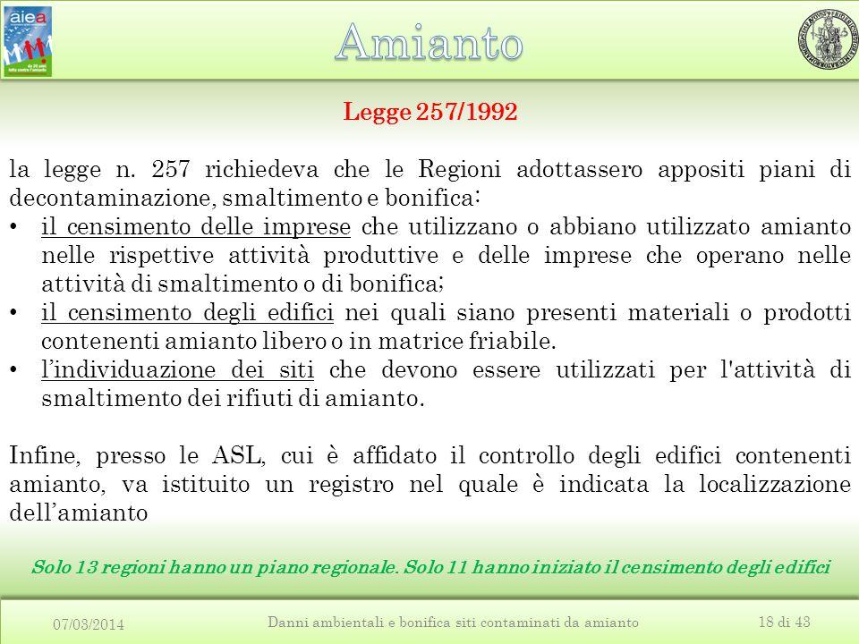 07/03/2014 Danni ambientali e bonifica siti contaminati da amianto18 di 43 Legge 257/1992 la legge n. 257 richiedeva che le Regioni adottassero apposi