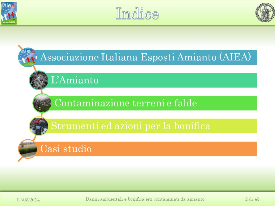 07/03/2014 Danni ambientali e bonifica siti contaminati da amianto2 di 43 Associazione Italiana Esposti Amianto (AIEA) L'Amianto Contaminazione terreni e falde Strumenti ed azioni per la bonifica Casi studio