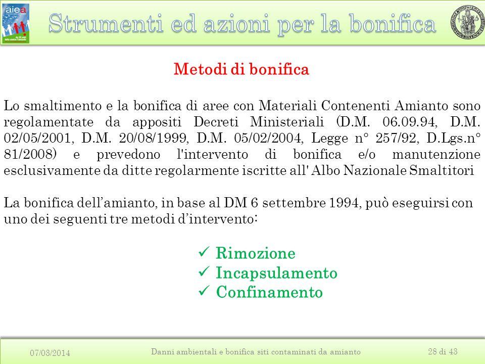 07/03/2014 Danni ambientali e bonifica siti contaminati da amianto28 di 43 Metodi di bonifica Lo smaltimento e la bonifica di aree con Materiali Conte