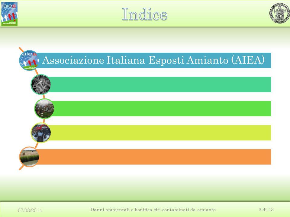 07/03/2014 Danni ambientali e bonifica siti contaminati da amianto3 di 43 Associazione Italiana Esposti Amianto (AIEA)