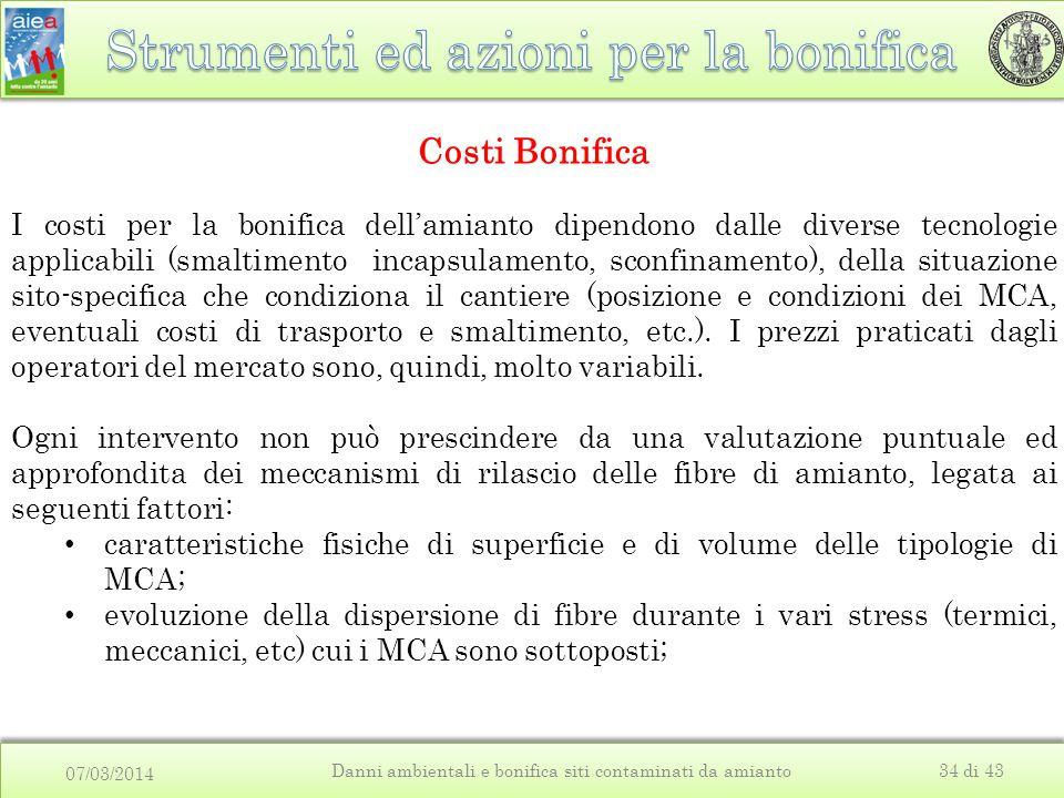 07/03/2014 Danni ambientali e bonifica siti contaminati da amianto34 di 43 Costi Bonifica I costi per la bonifica dell'amianto dipendono dalle diverse