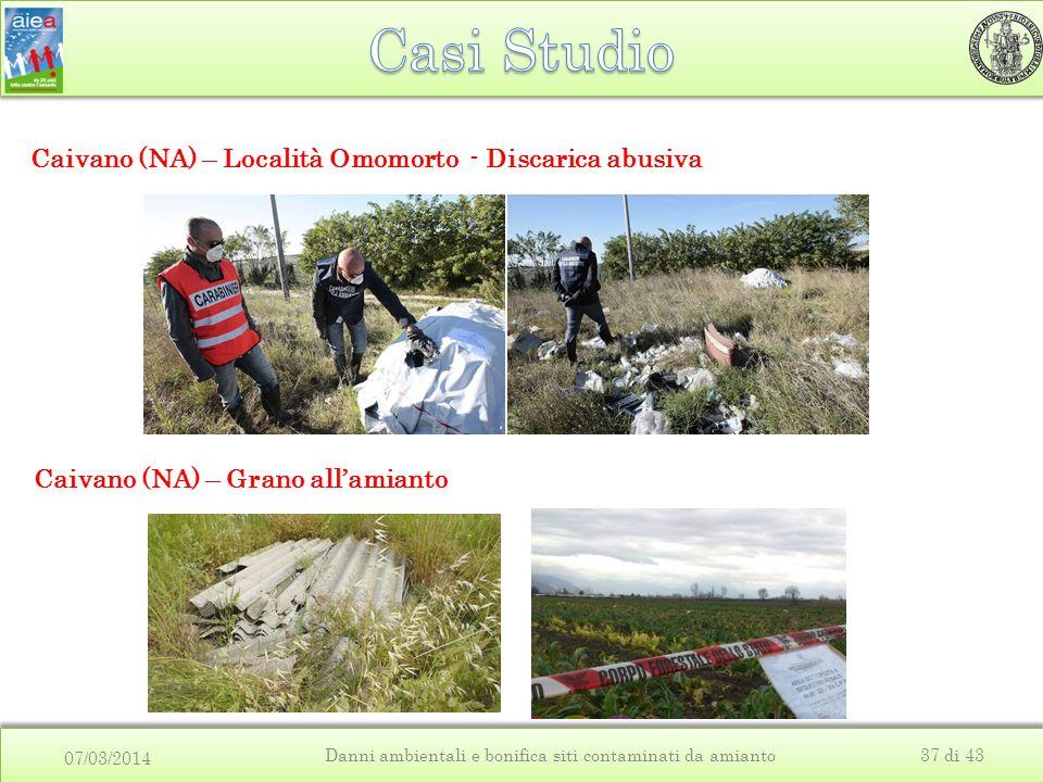 07/03/2014 Danni ambientali e bonifica siti contaminati da amianto37 di 43 Caivano (NA) – Località Omomorto - Discarica abusiva Caivano (NA) – Grano a