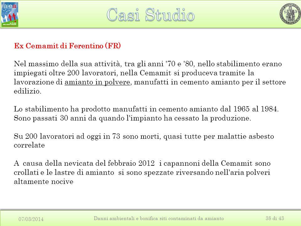 07/03/2014 Danni ambientali e bonifica siti contaminati da amianto38 di 43 Ex Cemamit di Ferentino (FR) Nel massimo della sua attività, tra gli anni '