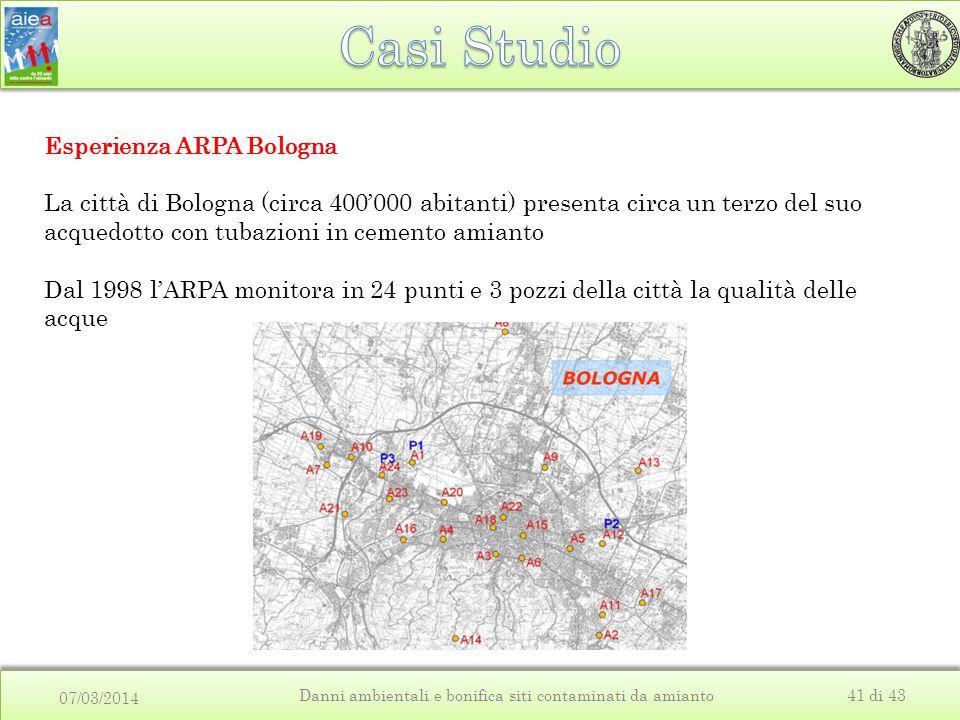 07/03/2014 Danni ambientali e bonifica siti contaminati da amianto41 di 43 Esperienza ARPA Bologna La città di Bologna (circa 400'000 abitanti) presenta circa un terzo del suo acquedotto con tubazioni in cemento amianto Dal 1998 l'ARPA monitora in 24 punti e 3 pozzi della città la qualità delle acque
