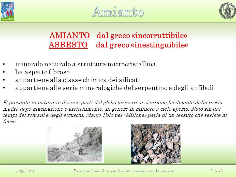 07/03/2014 Danni ambientali e bonifica siti contaminati da amianto8 di 43 E' presente in natura in diverse parti del globo terrestre e si ottiene faci